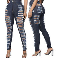 Fashion Women Broken Hole High Waist Ripped Skinny Slim Long Jeans Denim Pants