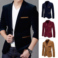 Luxury Business Men's Blazer Jacket Slim Fit Tops Suit Tuxedo One Button Coat