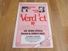 Hildegard NEIL in VERDICT Original 1984 Futurist Theatre SCARBOROUGH Poster