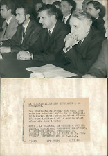 Paris, réunion de l'UNEF Vintage silver print,MM. Schreiner, Dardel, Vign