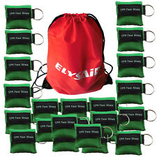 100 Green CPR Mask with Keychain Face Shield key AED Key Chain Disposable Mask