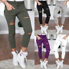 Women Casual Skinny Ripped Jeggings Stretch Slim Pencil Pants Trousers Leggings
