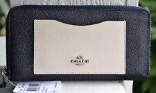NWT Coach Crossgrain Leather Bi-Color Block Acc Zip Around Wallet 86858 $265