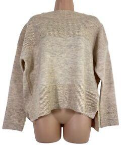 BNWT OASIS beige boxy long sleeve jumper size M UK 12 RRP £40