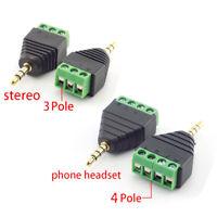 3.5mm 3 Pole 4 Pole Audio Stereo Male Plug Terminal Connector Headphone Adapter