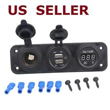 12V Dual USB Cigarette Lighter Socket Splitter  Charger Voltmeter Adapter Car