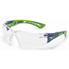 Bolle Rush Plus Safety Glasses Blue/Green Temples Clear Anti-Fog Lens