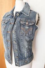 GUESS Women's Denim Vest Gilet Sleeveless Jeans Jacket Waistcoat Size S NEW
