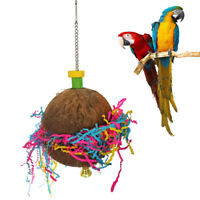 PARROT COCONUT SHELL BIRD SWING BELL PULL RIBBON HANGING TOY CAGE DECOR FUNNY