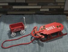 Vintage Midwest Of Canon Falls Noël Red Sled Wood Ornament Merry Christmas Wagon