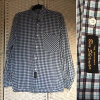 Men's Ben Sherman Button Down Blue Check Retro Mod Long Sleeved Shirt M Medium