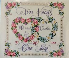 Counted Cross Stitch Kit TWO HEARTS ONE LOVE Janlynn+ Beads Beautiful Sentiment