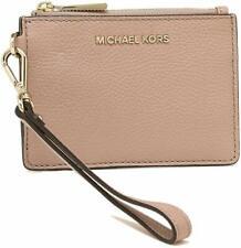Michael Kors Metallic Pebble Leather Wristlet Coin Purse Wallet Fawn