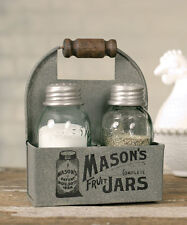 Farmhouse/Cottage/Primitive Mason Jar Box Salt & Pepper Caddy W/ Wooden Handle
