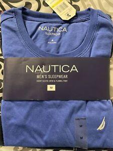 Nautica Men's Sleepwear 2 Pc Blue Short Sleeve Shirt And Flannel Pants SIZE Med.