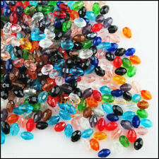 100 New Ellipse Charms Tiny Oval Crystal Glass Spacer Beads Mixed 4x6mm