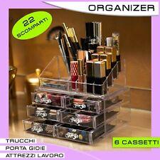 Organizer per Make Up, Box Porta Trucchi, Porta Gioie 22 Scomparti (6 cassetti)