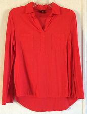 Merona Mixed Media Top Red V-Neck Blouse Convertible Sleeve Woven Knit Tee XS