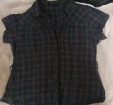 Ladies casual blue/brown check short sleeve blouse - Dorothy Perkins Size18