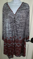 Lily By Firmiana Wearable Art Red Gray Stretch Tunic Top Sz 3XL EUC