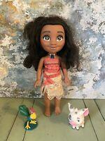 Disney - MOANA - Singing Doll Jakks Animator With Hei Hei And Pua Complete (2)