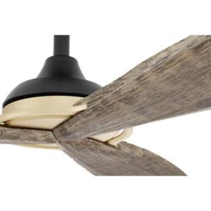 "56"" Large Sleek Propeller Ceiling Fan + Remote Unique Gold Brass Coastal Loft"