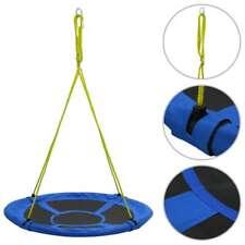 vidaXL Swing 110cm Blue Nest Rope Swing Spider Web Net Outdoor Garden Seat
