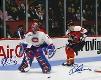 Eric Lindros / Patrick Roy Autographed Signed 8x10 Photo ( Flyers HOF ) REPRINT