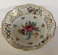 Schuman Bavaria Chateau Dresden Floral  Reticulated Round Serving Bowl 10""