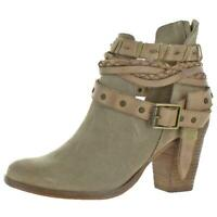 Naughty Monkey Women's Cuthbert Cow Suede Strappy Stacked Heel Ankle Bootie