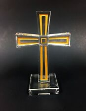 New Oleg Cassini Glass Crystal+Gold Accent Cross Shape Figurine Paper Weight
