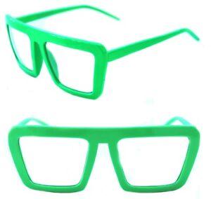 Mens Women's Square Retro Vintage Clear Lens Eye Glasses Neon Green Hip Hop EDM