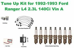 Tune Up Kit for 1992-1993 Ford Ranger L4 Spark Plug Wire Set, Air Filter, Fuel F
