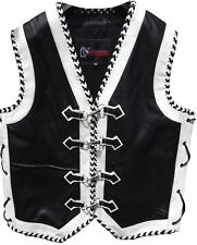 Leather Motorcycle Vest Custom Motorbike Biker Rider Waistcoat Hand Braided Vest