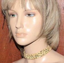 NEW VINTAGE STYLE GOLD SEQUIN FABRIC HANDMADE FESTIVAL CHOKER NECKLACE BOHO E602