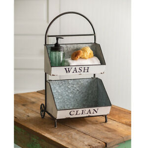Wash and Clean storage Caddy in distressed Tin