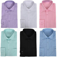 Mens Formal Long Sleeve Chest Pocket Full Collar Party Casual Office Work Shirts