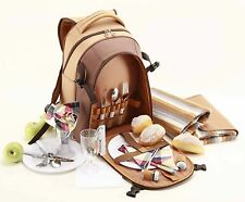 2P Picnic Back Pack with Rug   insulated   incl. all accessories   Chocolate