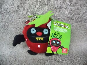 "Ugly Dolls Fruities 4"" Plush Clip-On: Ninja Batty Strawberry NWT"