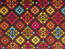 NAVAJO NATIVE AMERICAN DIAMOND COLORFUL COTTON FLANNEL FABRIC FQ