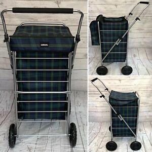 Sabichi Shopping Trolley Bag Angus Blue Green Tartan Check 4 Wheel Shopper