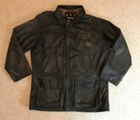 BARBOUR, Dark Brown Leather Bushman Jacket, Size M, GREAT CONDITION RRP £499