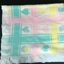 Vintage Beacon Baby Blanket Pastel Squares Blocks WPL 1675 Tulips Hearts Chicks