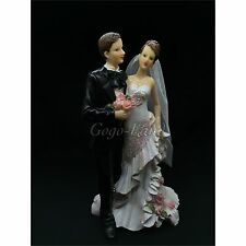 Cute Wedding Couple Cake Topper Groom and Bride Couple  Cake Topper 7""