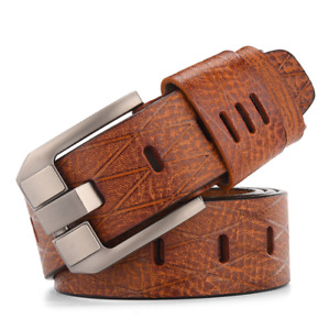 Charm Men Genuine Leather Belt Retro Casual Pin Buckle Waistband Belts Strap