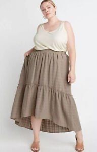 NEW RYLLACE HI LOW HEM BOHEMIAN SKIRT PLUS SIZE 1X Beige