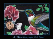 Hummingbird Fairy Hamster Mouse Mice Flower ACEO Limited Edition Art Print