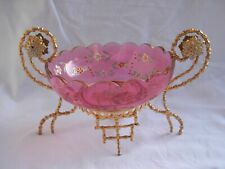 ANTIQUE FRENCH ENAMELED CRYSTAL TABLE CENTER PIECE,LATE 19th CENTURY.