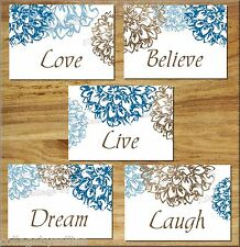 Brown Blue Wall Art Prints Floral Flower Bathroom Bedroom Decor Live Laugh Love