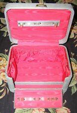 """40s Glam Noir Drop Front Vanity Train Case Textured Grey Pink 11.75"""""""